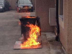 wheelie bin fire